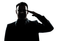 Silhouette man portrait army salute Stock Photography