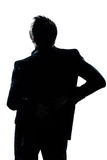 Silhouette man portrait backache Stock Images