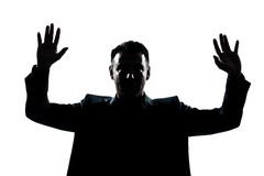 Silhouette man portrait hands up Stock Photo