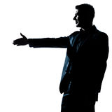 Silhouette man portrait handshake profile Stock Photos