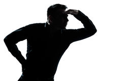 Silhouette man portrait looking away forward gesture Royalty Free Stock Images