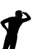 Silhouette man portrait looking forward gesture Stock Image