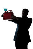 Silhouette man portrait out of gas begging Royalty Free Stock Photo