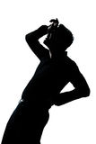 Silhouette man portrait pain backache Royalty Free Stock Image