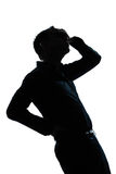 Silhouette man portrait pain backache Stock Photography