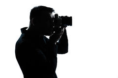 Silhouette man portrait photographer Royalty Free Stock Photography