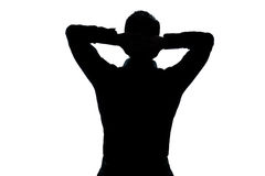 Silhouette man portrait stretching resting Royalty Free Stock Images