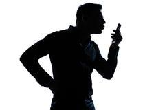 Silhouette man portrait telephone videophone Royalty Free Stock Photos