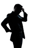 Silhouette man portrait tired migraine backache royalty free stock image