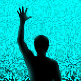 Silhouette of man with raised hand. Emotional moment in music live performance Royalty Free Stock Images