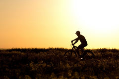 Silhouette of a Man riding a bicycle in the field Stock Photo