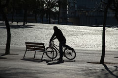 Silhouette of a man riding bike. Sunshine, black, morning Royalty Free Stock Photo