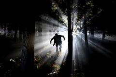 Silhouette of Man Running on Forest Royalty Free Stock Photo
