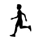 Silhouette man running left side. Vector illustration Stock Image