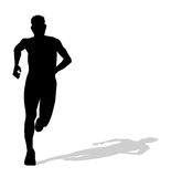 Silhouette of man running. On white background vector illustration