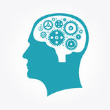 Silhouette of a man`s head with gears in the shape of the brain royalty free illustration