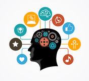 Silhouette of a man`s head with gears in the shape of a brain surrounded by icons. Infographic template. Modern flat design concept for web banners, web sites Stock Photos