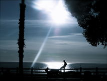 Silhouette of Man By the Sea at Dusk Stock Image