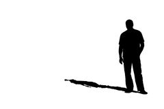 Silhouette of a man with a shadow Stock Photos
