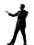 Silhouette man showing gesture Royalty Free Stock Image