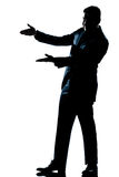 Silhouette man showing pointing empty copy space Royalty Free Stock Photography
