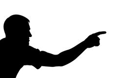 Silhouette man showing something. Man showing something with hand Royalty Free Stock Photos