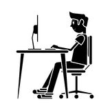 Silhouette man sitting using laptop on desk design Royalty Free Stock Images