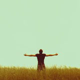 Silhouette of man standing on an empty background Royalty Free Stock Images
