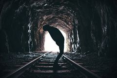Silhouette of twisting man in abandoned railway tunnel