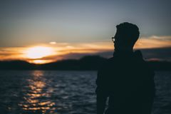 Silhouette of Man during Sunrise Royalty Free Stock Photo