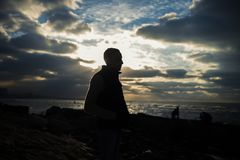 Silhouette of Man during Sunrise Royalty Free Stock Photos