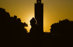 Silhouette of a man in sunset Stock Photography