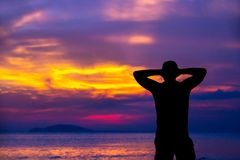 Colorful evening in front of the ocean, Sanya, Hainan, China. stock image