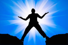 Silhouette of man and sunshine stock photography
