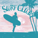 Silhouette of the man with a surfboard at tropical sunrise or tender sunset. Promo banner for surf club, sketch style vector illustration Stock Photography