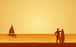 Silhouette man surfer carrying surfboard on beach under sunset sky background in flat icon design Stock Image