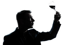 Silhouette man tasting looking at his glass Stock Photo