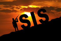 Silhouette man with text of ISIS Royalty Free Stock Image