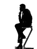 Silhouette  man  thinking pensive Stock Images