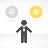 Silhouette of man with tie and the currencies Royalty Free Stock Photos