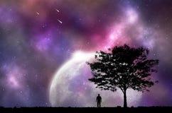 Silhouette man and tree with night sky. Stock Photo
