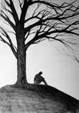 Silhouette of a man under the tree Stock Images