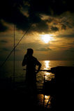 Silhouette man use satellite phone stock photos