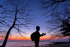 Silhouette man using smartphone. With dead tree and sunset beach background Royalty Free Stock Photo