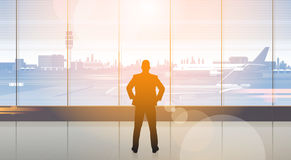 Silhouette Man Waiting For Arrival In Airport Hall Departure Terminal Interior Check In. Flat Vector Illustration Royalty Free Stock Image