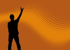 Silhouette man and wavy logo. Silhouette man with upraised hand and peace sign and orange wavy background stock illustration