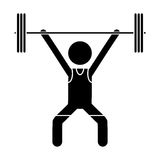 Silhouette man weight lifter sport athlete Stock Photo
