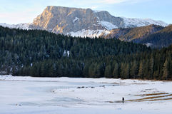 Mountain forest, hill, frozen lake and man Stock Photos