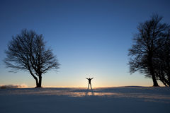 Silhouette of man in winter landscape between trees Royalty Free Stock Image