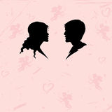 Silhouette of man and woman on abstract background Royalty Free Stock Image